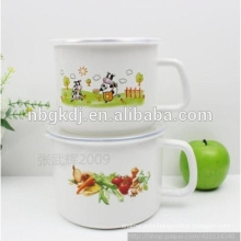 bulb handle enamel milk mug enamel personalised mugs with fruit and cow decals